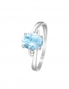Bague Cayuga Or Blanc Diamant 0,1ct Topaze 1,4ct
