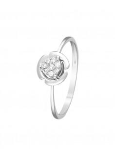 Bague Abaya Or Blanc Diamant 0,03ct Emeraude 0,6ct